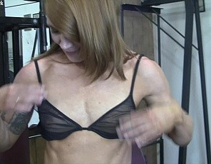 Charlotte shows us how hard she's been working in the gym and then tells us, I think I am going to hit legs and chest today, which is fine by us! However, one she starts working her powerful legs and pecs her gym mate beens fondling and probing her. Things get really heated once he inserts a metal plug in her ass. There is more to this video, and you'll love what's coming next.