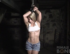 Claire finds herself captive in a dungeon and chained up by the wrists. She pleads to be released and says, If I Do What You Want, Then You Gotta Let Me Go, but it remains to be seen if this strategy works. We see her in POV as her captor muscle worships her biceps, legs and glutes. He also seem to really enjoy her flat, ripped abs and beautiful pussy. Will he release her? We shall see...