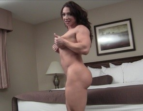 There's nothing sexier than a thick muscle girl, female bodybuilder BrandiMae says, posing for you in the bedroom and showing you her powerful pecs, vascular biceps, ripped abs, then taking off her Panties to show you her muscle control of her thick legs, glutes and calves and how good her pretty pussy looks. There's nothing sexier.